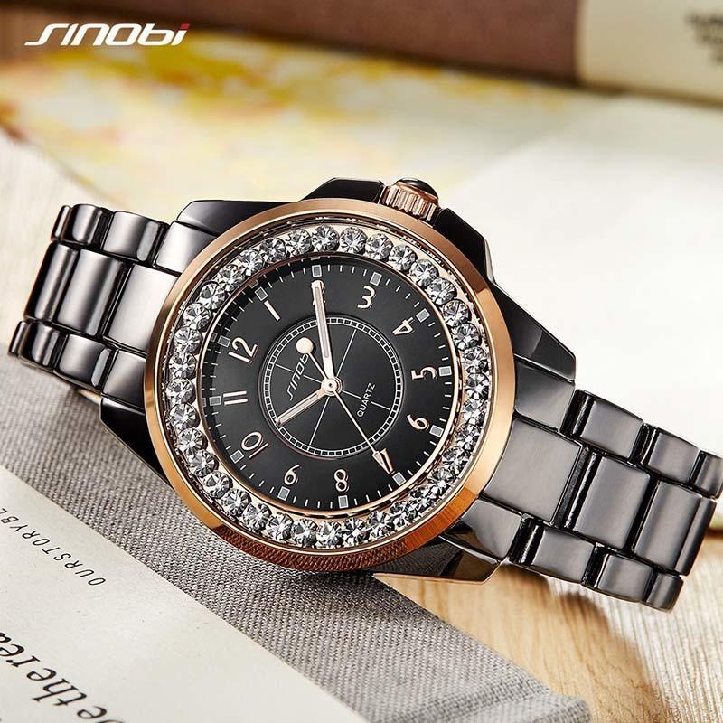Women Bracelet Watches 2018 Ladies Wrist Watch For Women Wristwatch Clock SINOBI Top Brand Rhinestone Watch Female Montre Femme Y18110310
