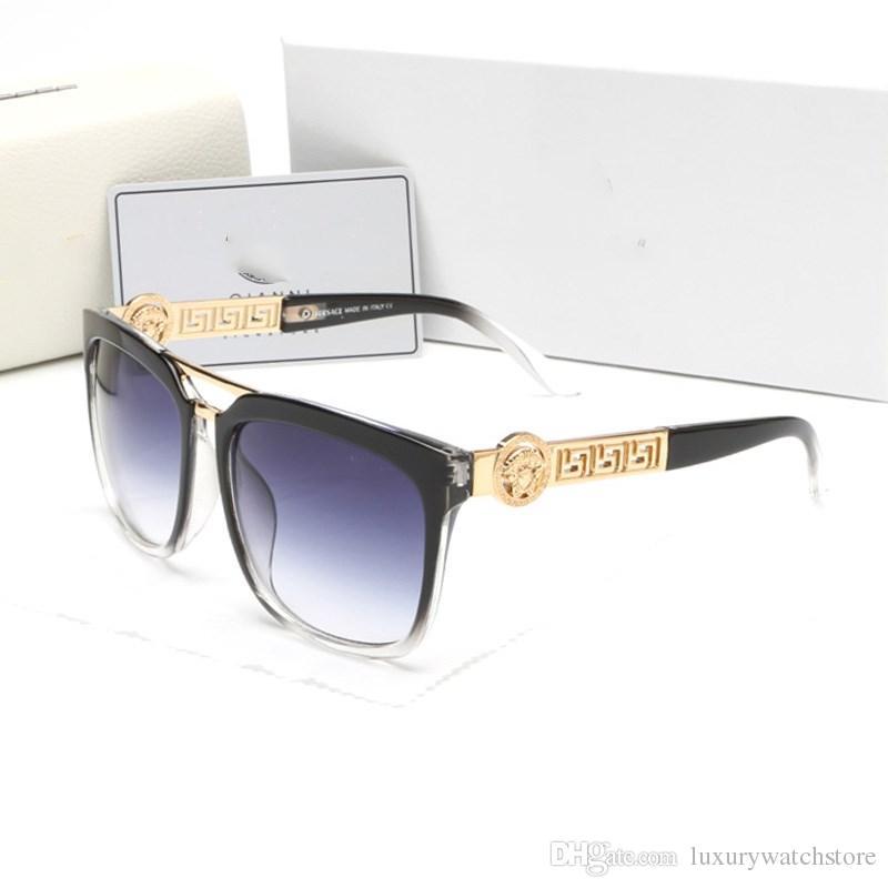 Toptan Yaz tarzı İtalya marka medusa güneş gözlüğü kadın erkek marka tasarımcısı uv koruma güneş gözlükleri şeffaf lens ve kaplama lens ...