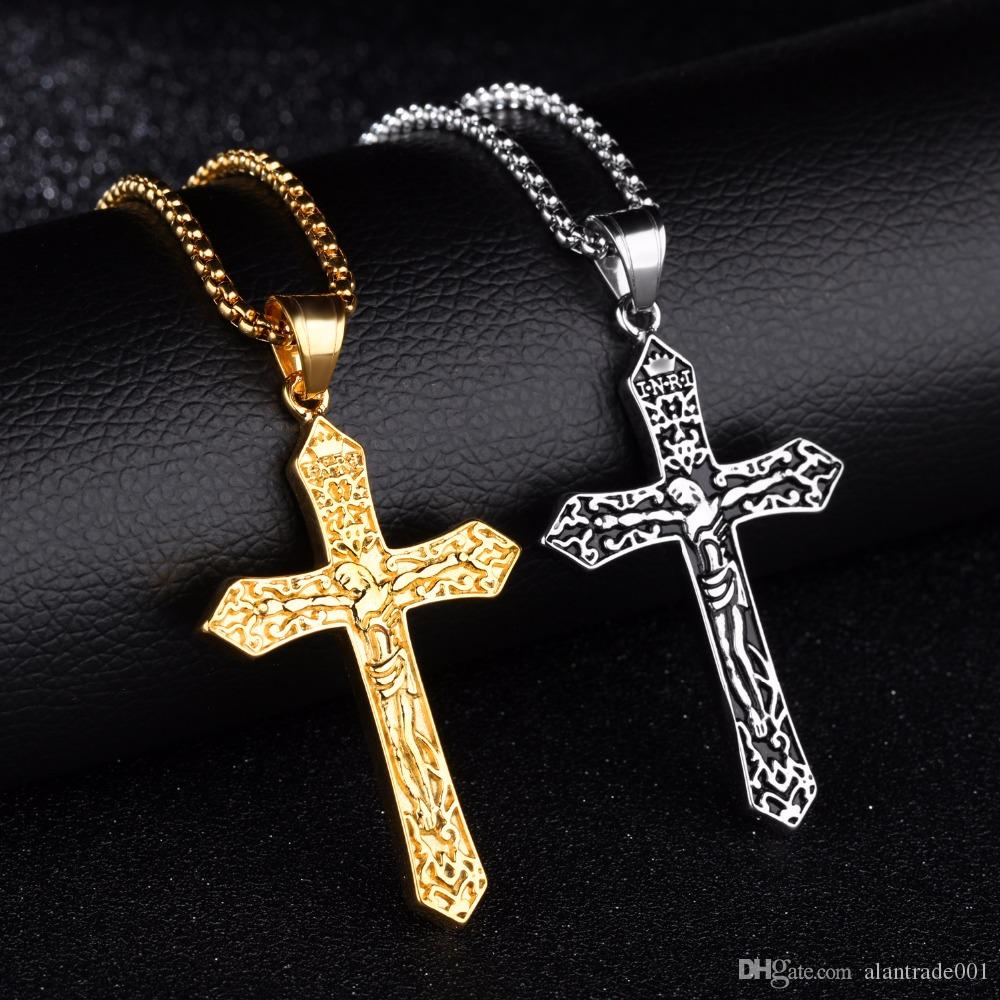 Fashion Hot sale Jewelry Cross Necklaces For Men Crucifix Jesus Pendant Stainless Steel Men Necklace Box Lain Chain Male Jewelry