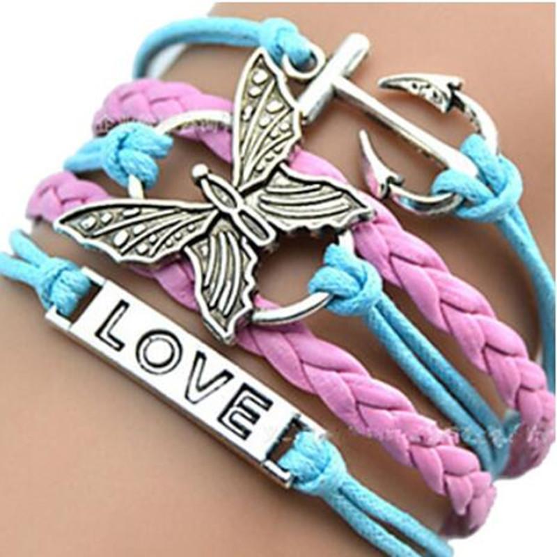 Infinity Charm Bracelets Leather Bracelets Creative Handmade Rope Butterfly Boat Anchor LOVE Hot Sale Fashion MultilayerJewelry
