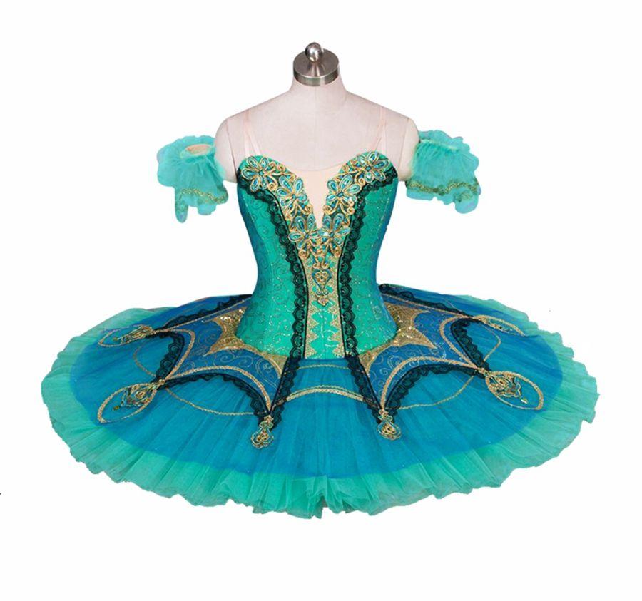 Adult Ballet Pancake Platter Tutu Skirt Dance Dress Green Golden Ballet Costume