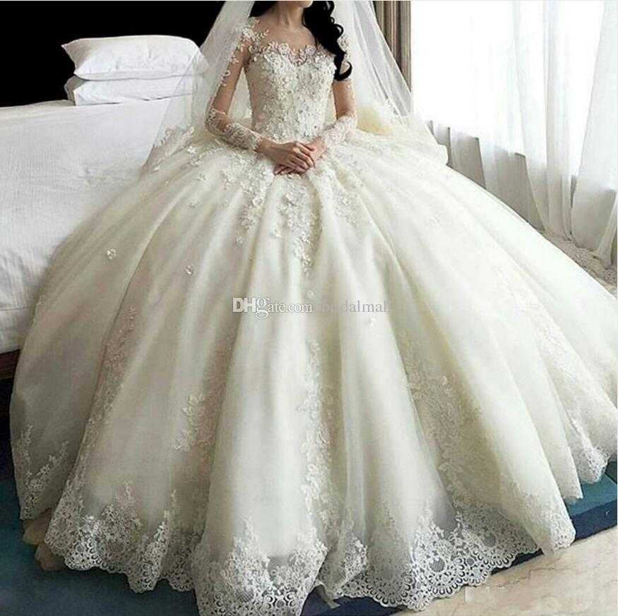 2019 Crystal Lace Ball Gown Wedding Dresses With Sheer Long Sleeve 3D-Floral Appliques Wedding Gowns For Brides Dubai Plus Size Bridal Dress