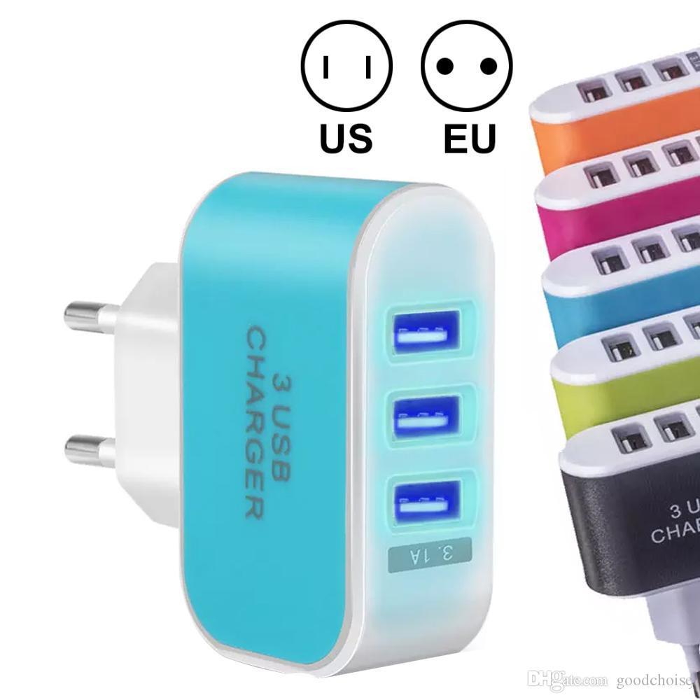 США ЕС Plug 3 USB настенные зарядные устройства 5V 3.1 A LED адаптер путешествия удобный адаптер питания с тройными портами USB для смартфонов