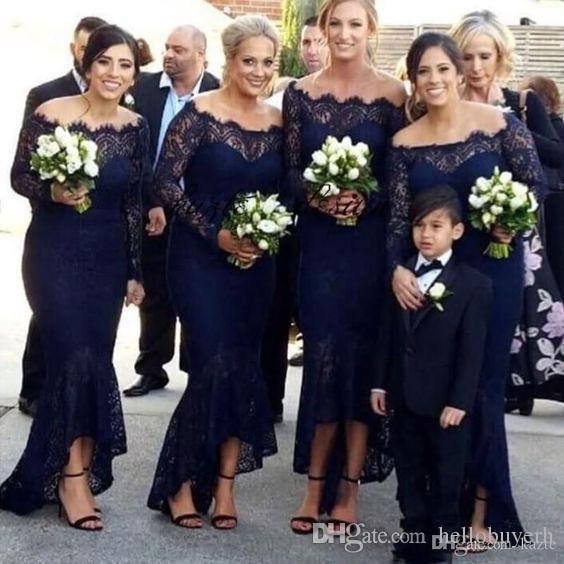 Dantel Lacivert Uzun Kollu Nedime Elbiseler Kadın Tasarımları Kollu Resmi Elbiseler