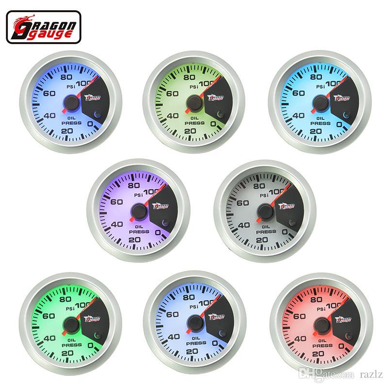 Dragon gauge 52MM 7 Color blacklight Auto Car Oil Pressure gauge Meter Gauge with Sensor for 0~100 PSI