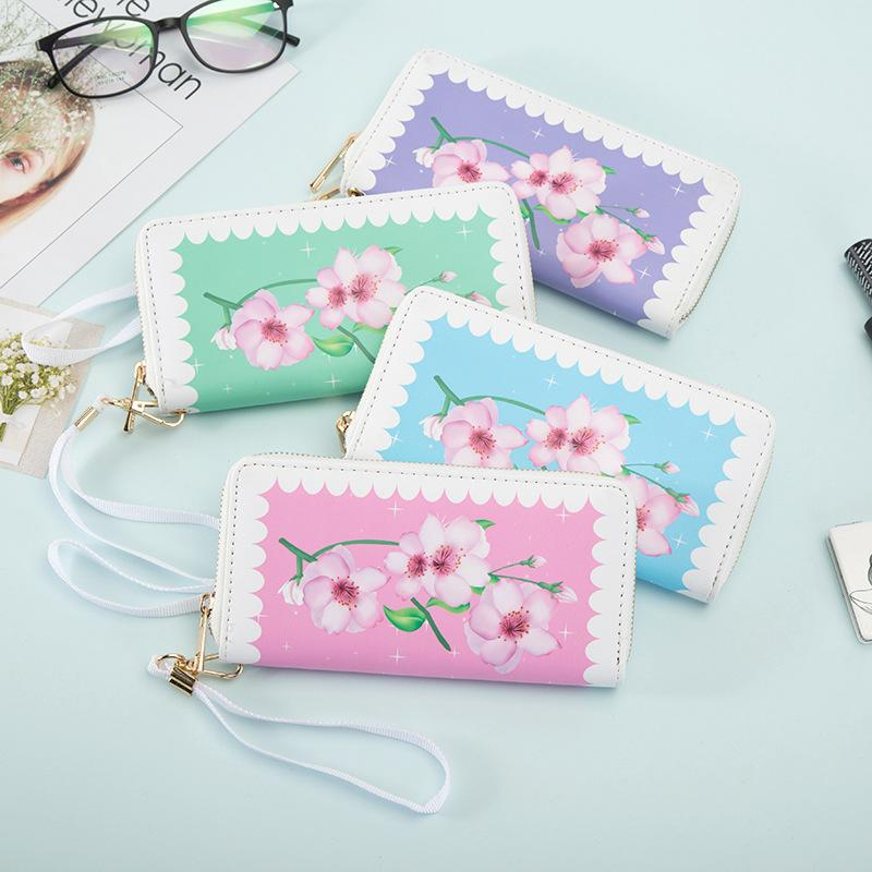 New creative stamp mid-long lady purse pu zipper multi-card wallet wallet