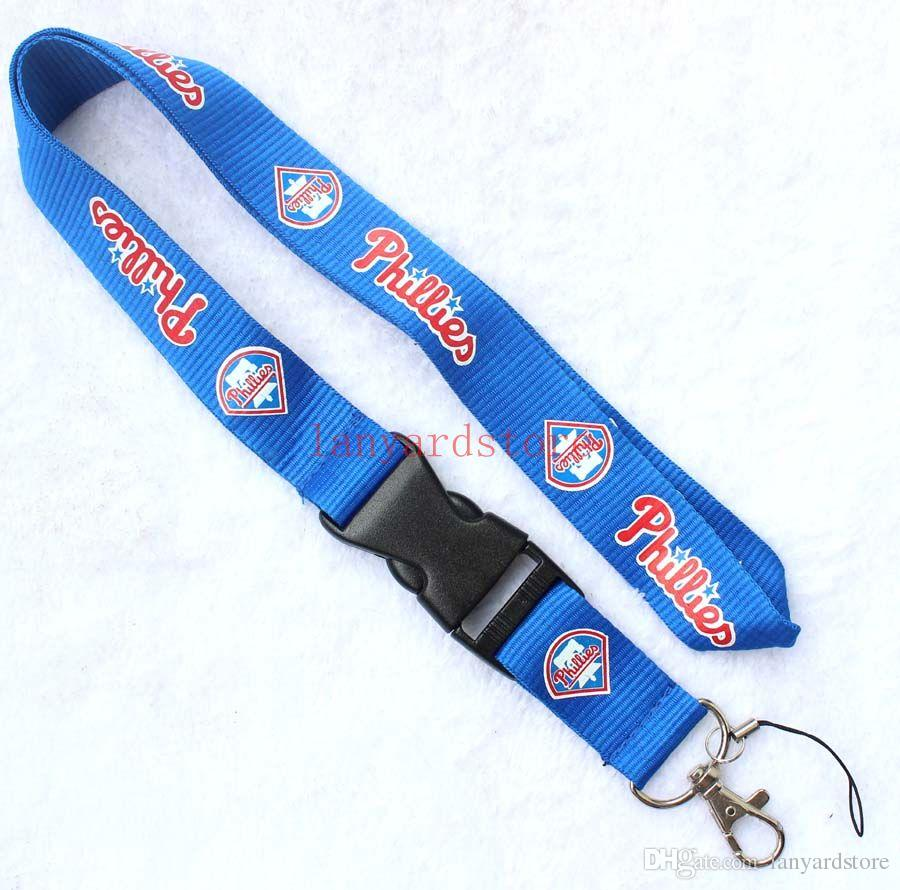 High-quality 10pcs Neck Strap Lanyard with Silver Metal Clip Lanyard key chain Blue The charm of Baseball Free shipping