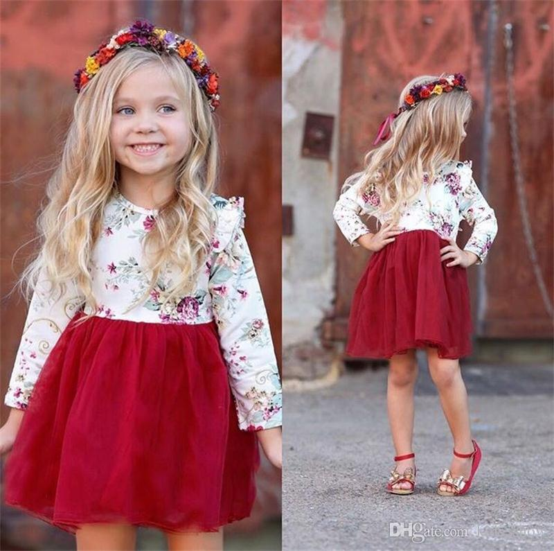 Fashion Cute Baby Girl Floral Tulle Dress Long Sleeve Princess Dress TuTu Skirt For Party Photoshoot Outfit