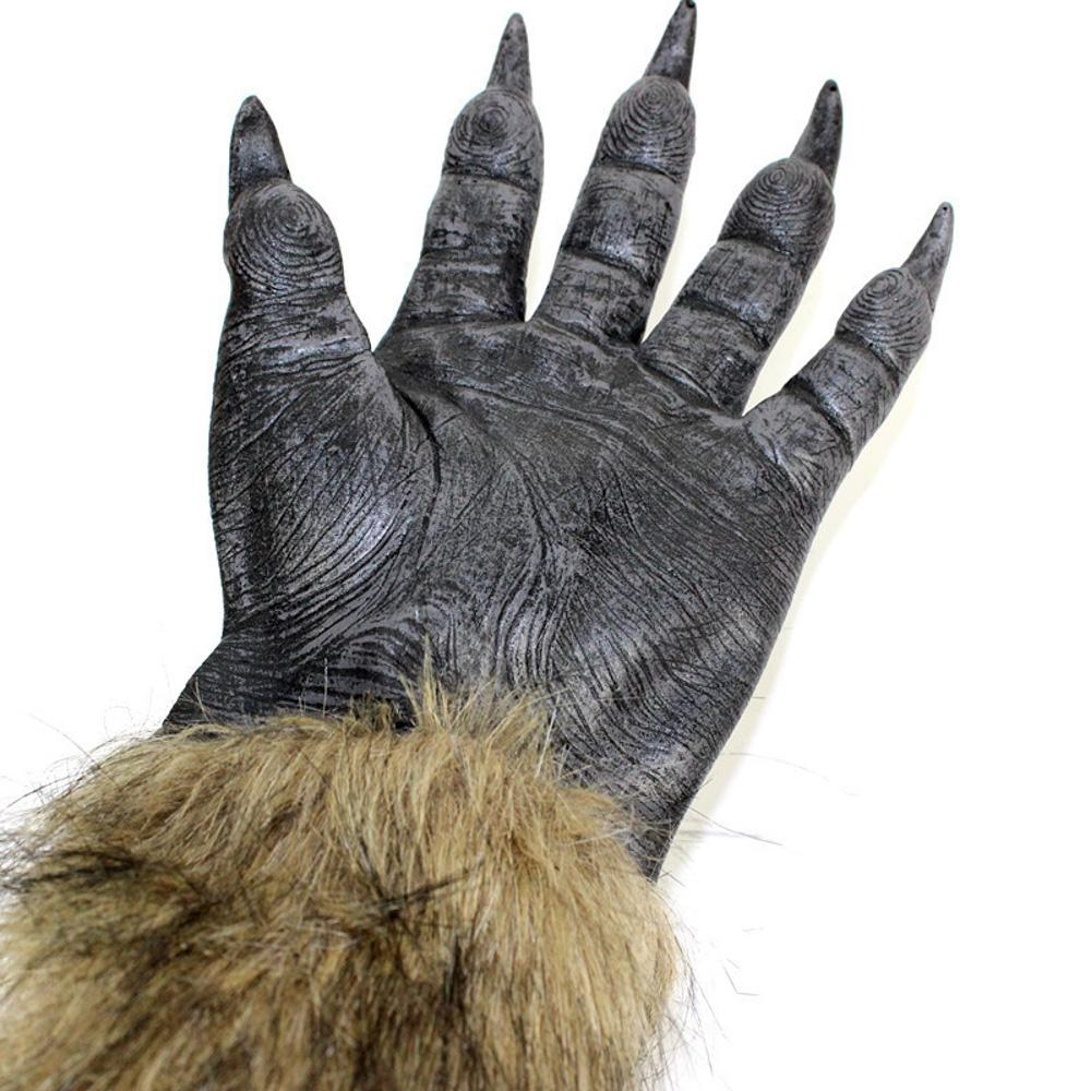 1 Pair Classic Halloween DIY Creative Werewolf Wolf Paws Claws Cosplay Gloves Creepy Costume Party 2018 Fashion Wholesale