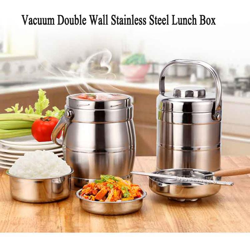 Vacuum Double Wall Stainless Steel Insulated Lunch Bento Box Portable China Japan Style Food Container For Kids Adult Student 7