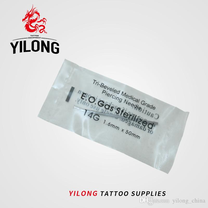 YILONG 14 Gauge 100PC Tattoo Piercing Needles Sterile Disposable Body Piercing Needles 14G For Ear Nose Navel Nipple Free Shipping