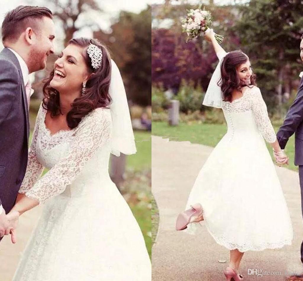 Старинные чай длина страна свадебные платья с длинными рукавами 2018 линия кружева v-образным вырезом короткие сад пляж свадебные свадебные платья