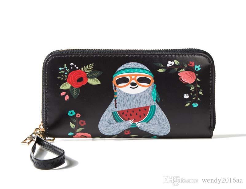 Women RFID Fashion Korea Cartoon Printing Long Zipper Wallets PU 7colors Brief Waterproof Clutch Bags