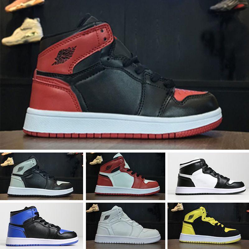Nike air jordan 1 2019 حار بيع 1 1 ثانية أطفال أحذية كرة السلة أعلى جودة بنين بنات تشيل بابيس رياضة الصيف مصمم أحذية الحجم 28-35dre