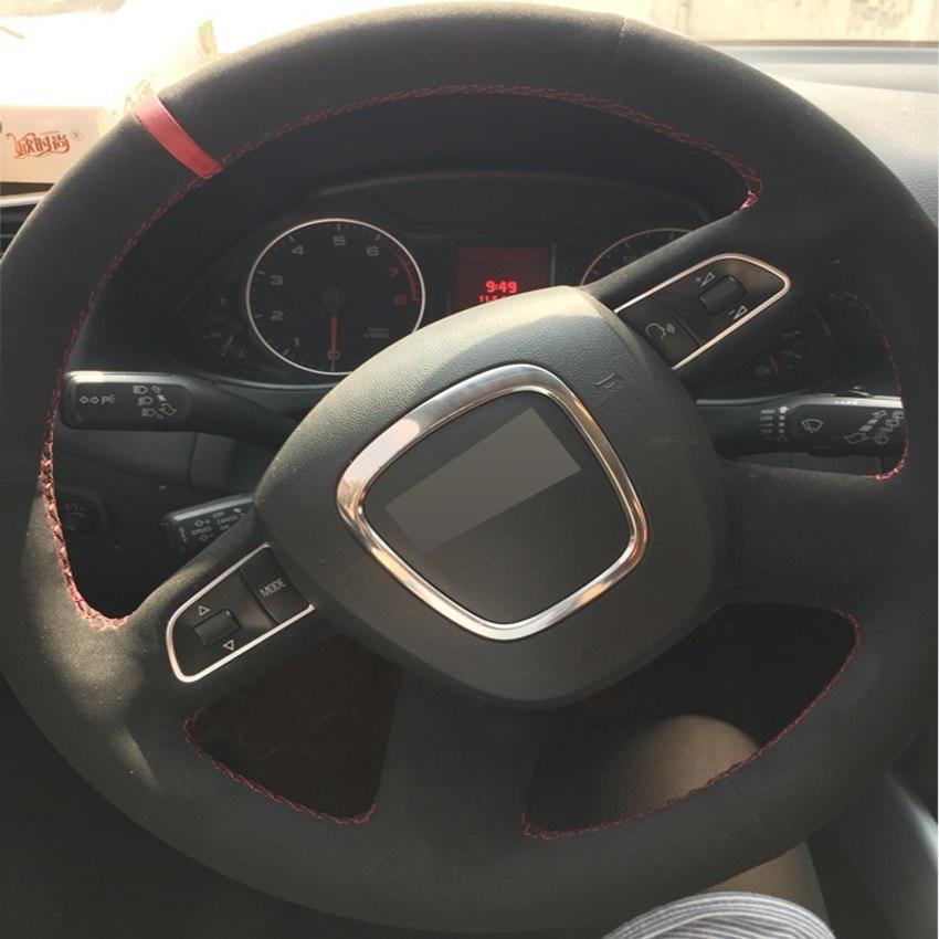 Siyah Süet DIY El-dikişli Araba Direksiyon Kapağı için Audi Eski A4 B7 B8 A6 C6 2004-2011 Q5 2008-2012 Q7 2005-2011