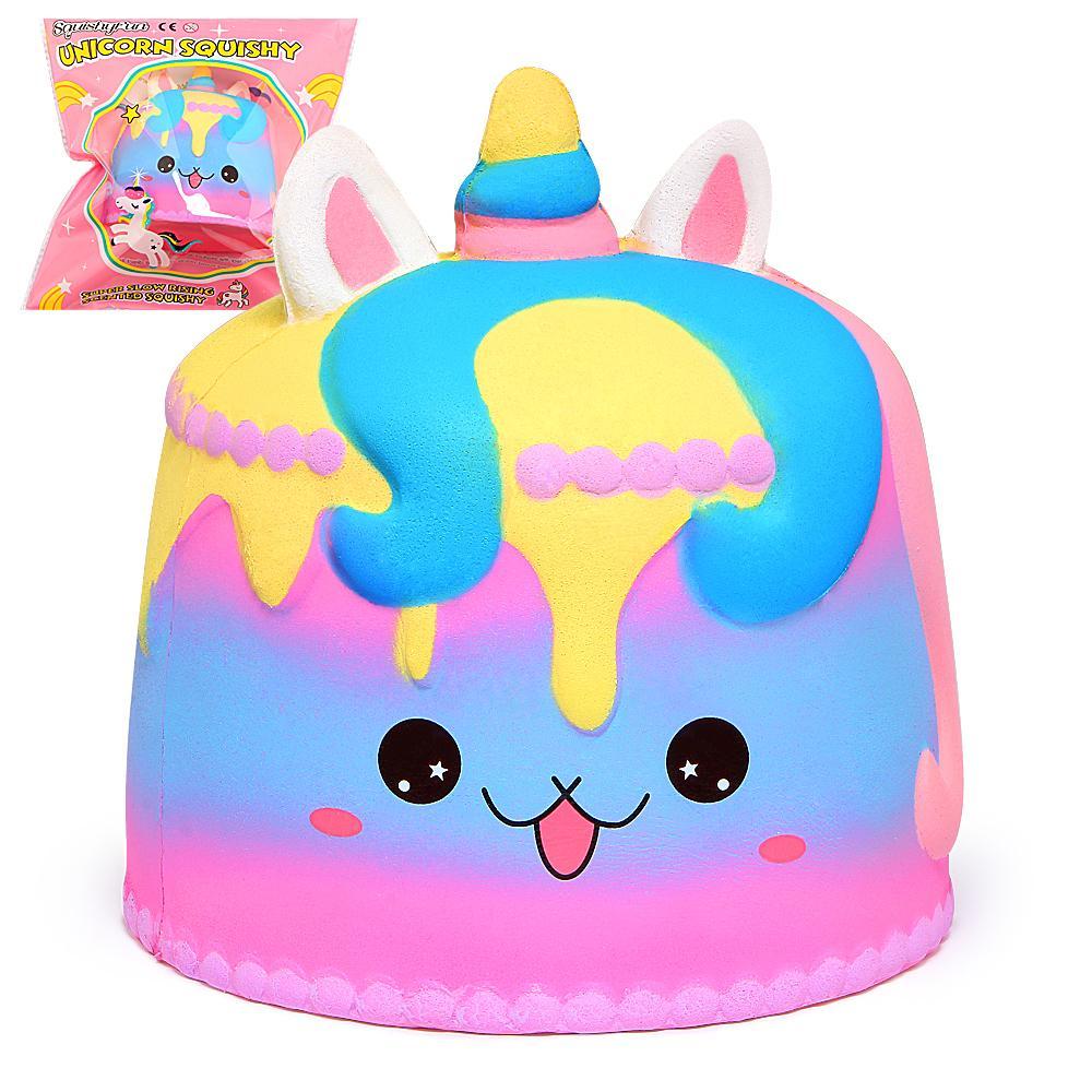 Colorful Jumbo Squishy Unicorn Mousse Cake Rainbow Squishies Crema profumata Slow Rising Giocattoli per bambini