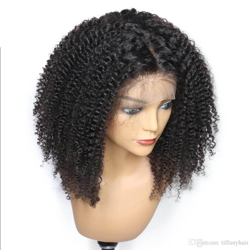 Lace Front Human Hair Wigs For Black Women Pre Plucked Afro Kinky Curly texture Brazilian Virgin Hair Lace Wig With Baby Hair