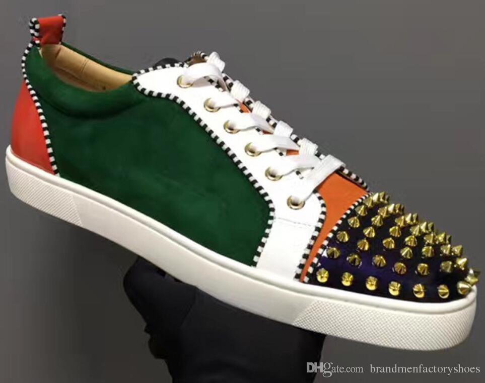 Erkekler Ayakkabılar renk moda başak mix 2018 marka Adam dip spor ayakkabılar patchwork tarzı erkekler daire kırmızı Casual Ayakkabı yukarı Sneakers Erkekler dantel damızlık
