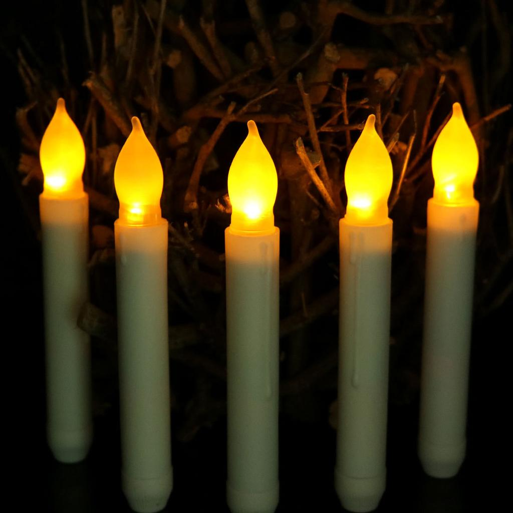 12 PCS/Set 2.1*16.5cm Battery Operated Flameless LED Taper Candles Lights for Wedding Birthday Churches Christmas Party Decorations