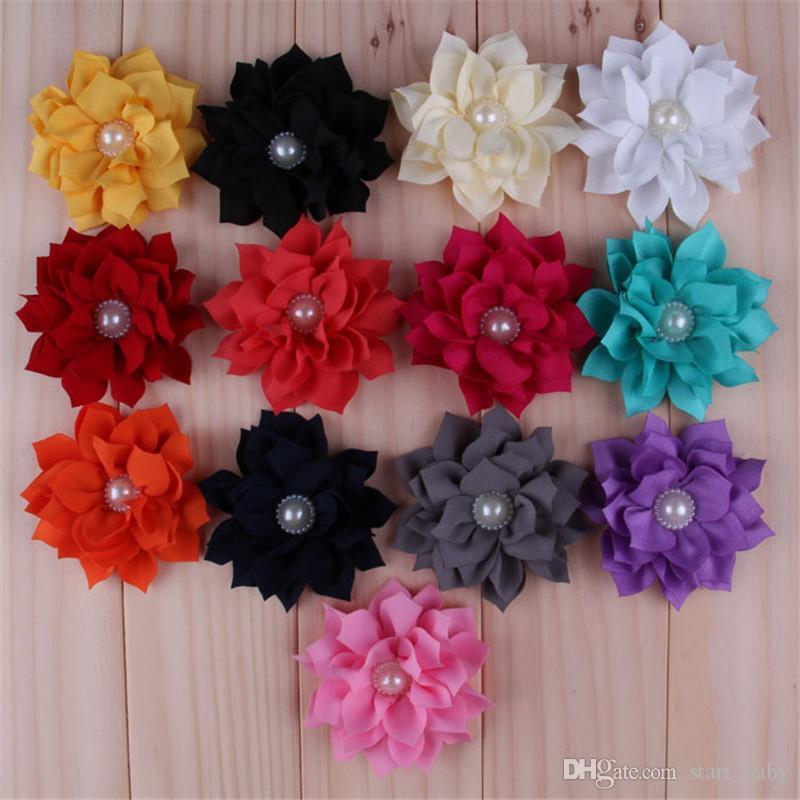 Toptan 200pcs YENİ şifon Lotus Çiçekleri Yapay Flatback Kumaş Çiçek ile İnci Saç Aksesuarları Düğün / Bantlar Çiçek B Sivri
