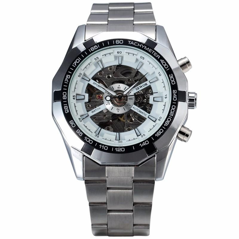 SEWOR Brand Men Casual Relojes mecánicos Reloj de pulsera Reloj automático de cuerda automática Relojes de pulsera mecánicos de esqueleto de lujo para hombre SWQ19-740