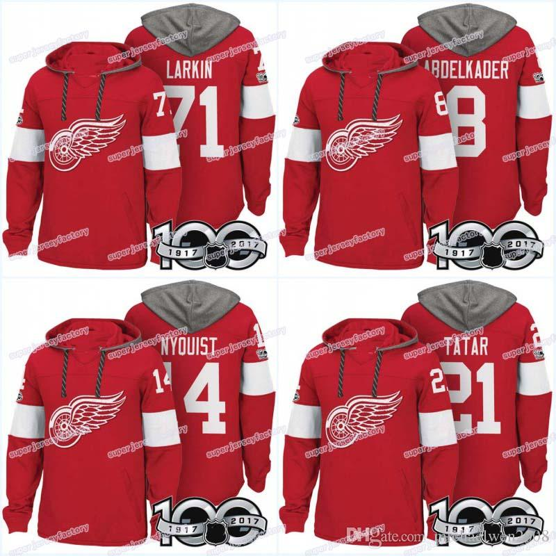 Homens 100 Detroit Red Asas Jerseys 8 Justin Abdelkader 9 Gordie Howe 14 Gustav Nyquist 21 Tomas Tatar Hoodies Jerseys Camisolas