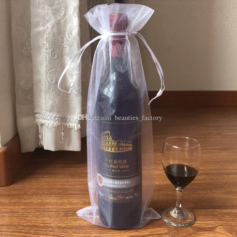 200Pcs White Organza Bottle Bags Gift Pouch Wedding Favor 14X35cm Wine Bottle Bag (or Mix colors)