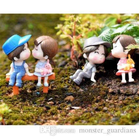 3 Adet / takım Mini Dışkı Çiftler Bebekler Peri Bahçe Minyatürleri DIY Mikro Peyzaj Dekor Dollhouse / Terrarium Aksiyon Figürleri ...