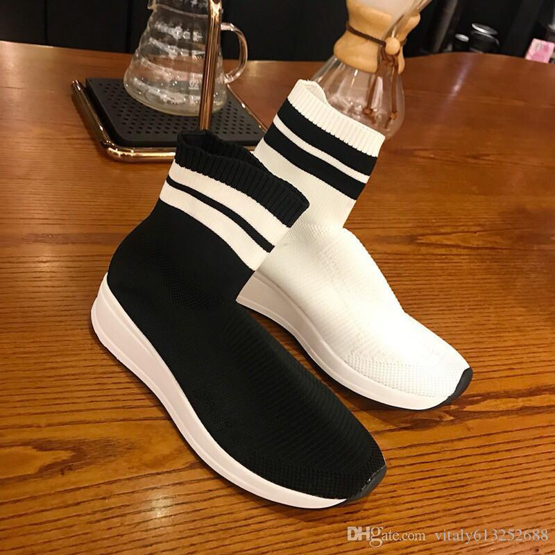 Alta qualità a buon mercato originale 2018 donne calzino scarpe da corsa nero bianco rosso velocità allenatore sportivo sneakers stivali alti scarpe casual donna 35-39