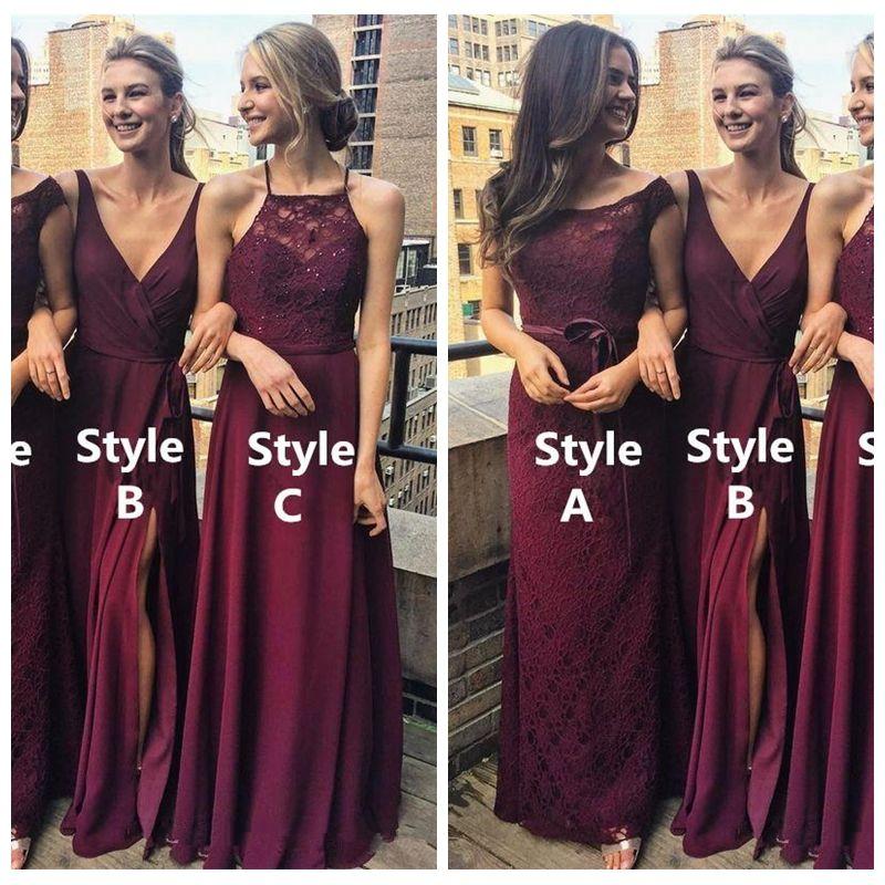 맞춤 온라인 부르고뉴 비치 Boho 저렴한 신부 들러리 드레스 2019 레이스 섹시 프런트 사이드 분할 파티 드레스 저녁 착용 Vestidos 드 들러리