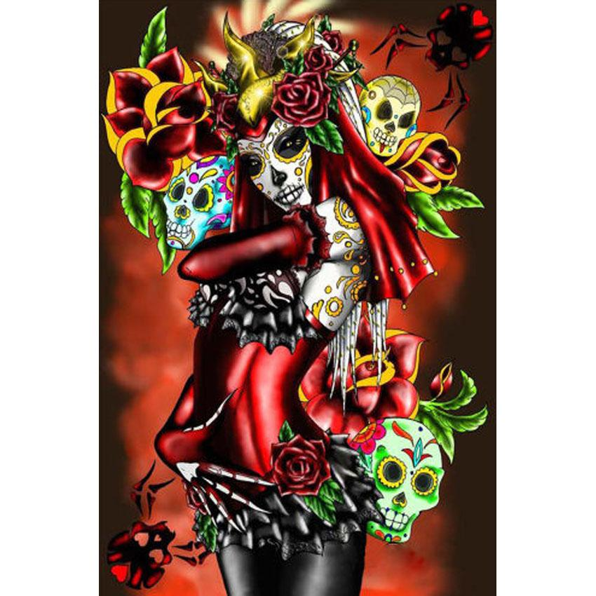 Skull Beauty Woman Full Drill DIY Mosaic Needlework Diamond Painting Embroidery Cross Stitch Craft Kit Wall Home Hanging Decor