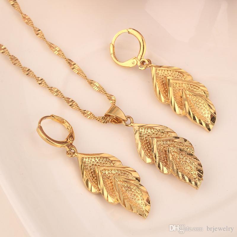 Dubai india cor de ouro Brinco Set Mulheres Presente Do Partido grande Folha Conjuntos de Jóias uso diário mãe presente DIY encantos mulheres meninas Fine Jewelry