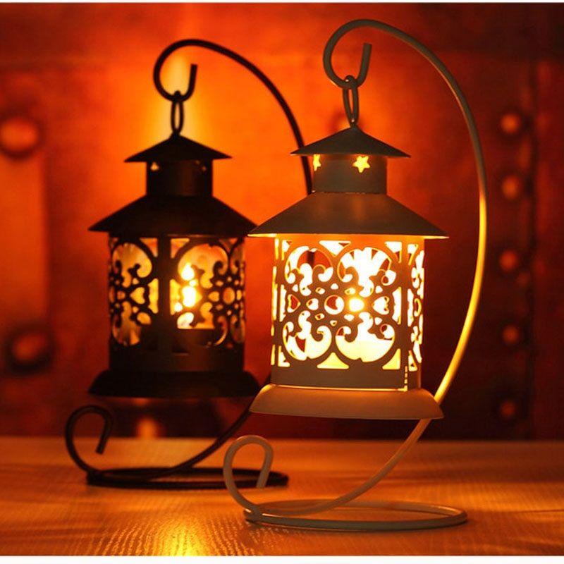 Castiçal de Estilo marroquino Castiçal Suporte de Vela Suporte de Luz Titular Estilo Europeu Casa Lanterna Luz ZA5639