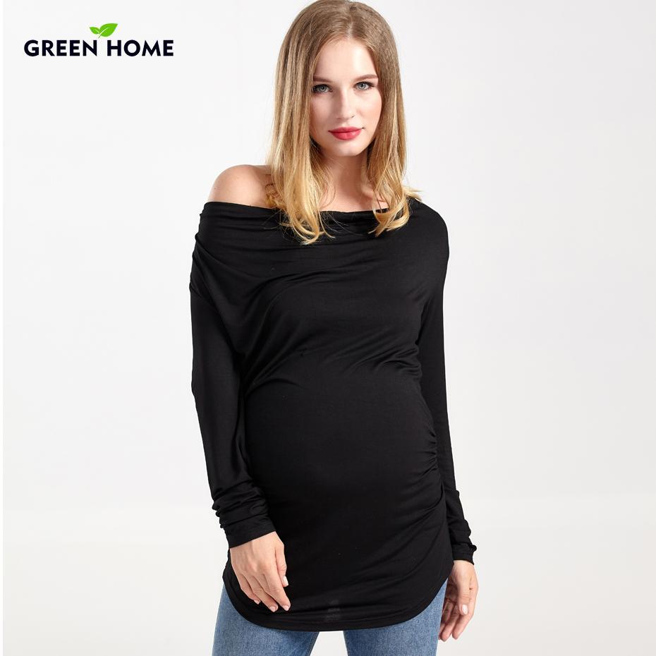 الأخضر الرئيسية الحوامل t-shirt طويلة الأكمام الشتاء الأمومة قمم رشاقته النساء الحوامل فضفاضة الحمل التمريض المحملة الملبس