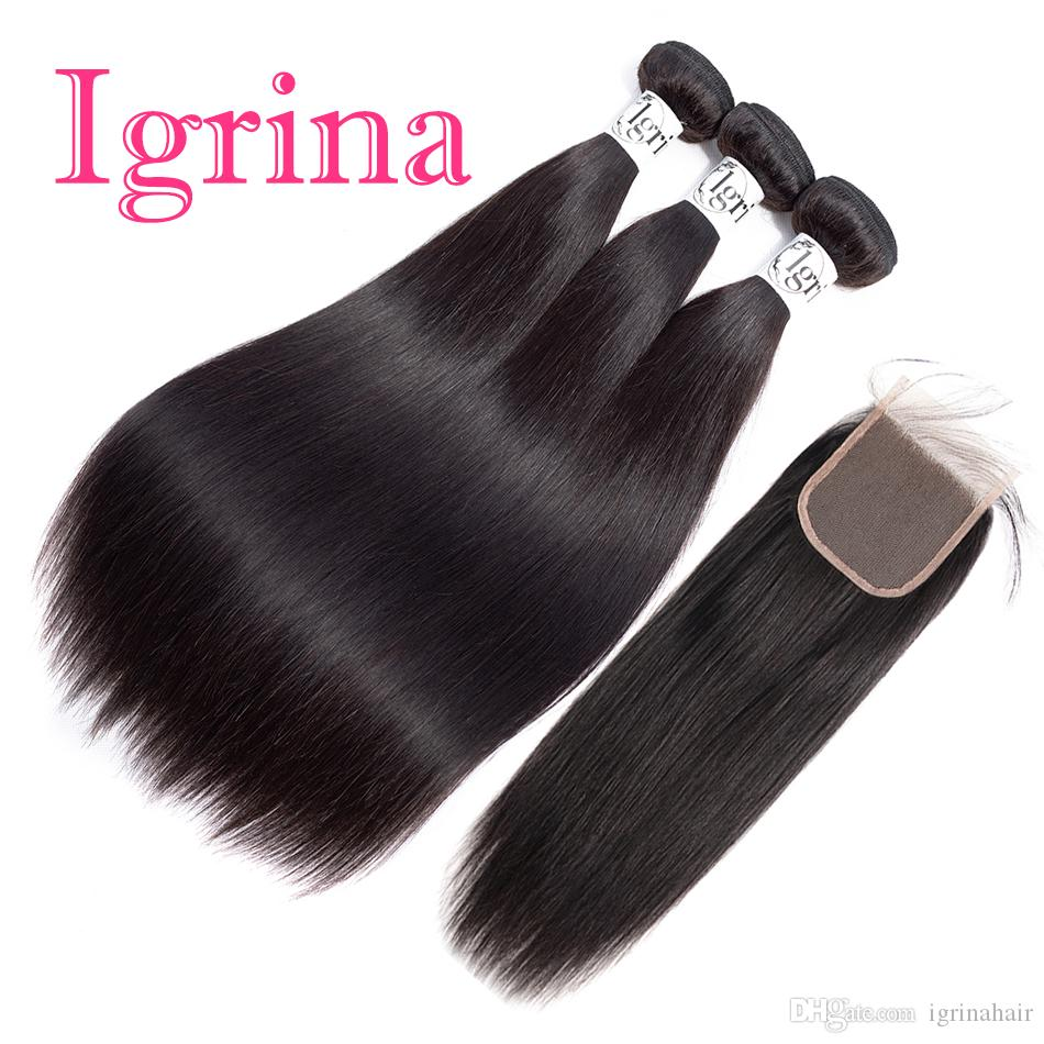 Igrina Peruvian Virgin Hair Straight 4 Bundles With 4x4 Lace Closure Good Cheap Weave Unprocessed Remy Wet And Wavy Human Hair Extensions