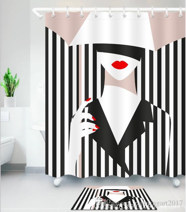 3D mujeres blancas negras diseño de impresión patrón decoraciones irlandesas a prueba de agua decoración del baño de tela cortinas de ducha esteras del piso conjuntos
