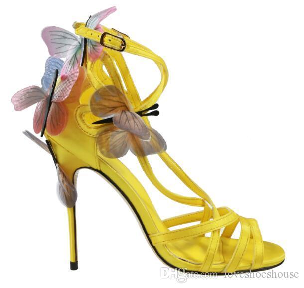 2018 mujeres de la manera punta abierta mariposa tacones zapatos de fiesta sandalias de alas coloridas zapatos de vestir corta sandalias talón delgado