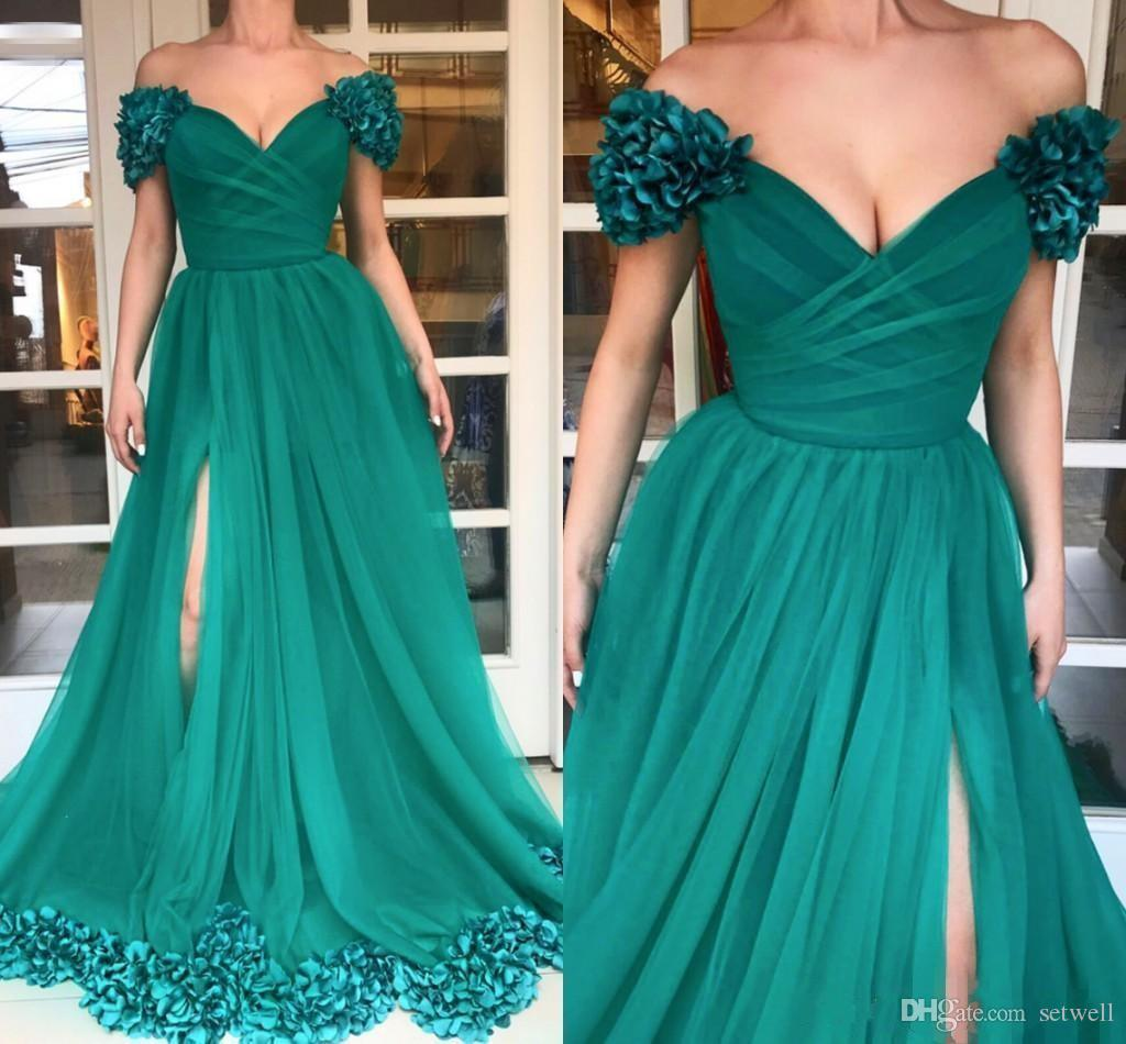 Sexy High Split A-line Prom Dresses Custom Plus Size Hunter Green Tulle Special Occasion Dress Off Shoulder 3D Flowers African Evening Gowns