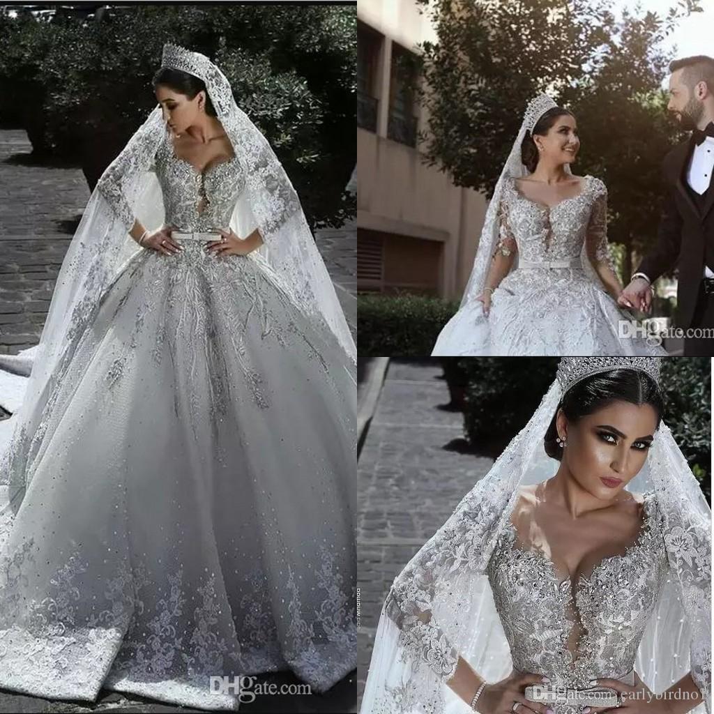 2019 vestidos del nuevo y lujoso con cuentas árabe vestido de bola vestidos de novia glamour medias mangas de tul apliques de cuentas de las lentejuelas Equipada de novia