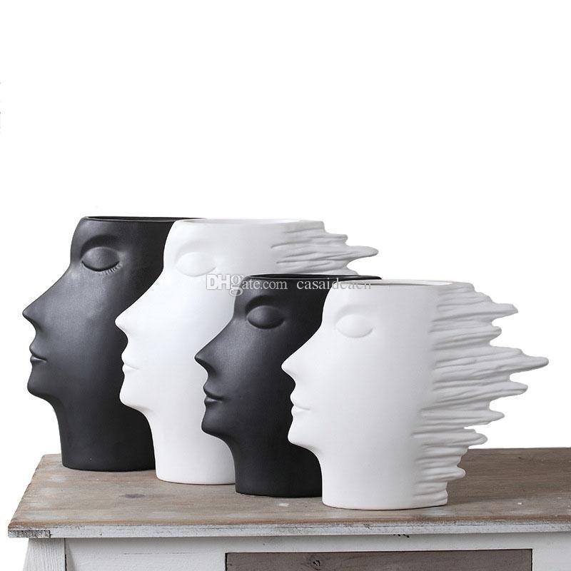 خلاصة الوجه زهرية الفن الحديث الرياح رجل النحت الخزف تمثال رئيس البشريه الموضة الديكور المنزلي الحرف أسود أبيض