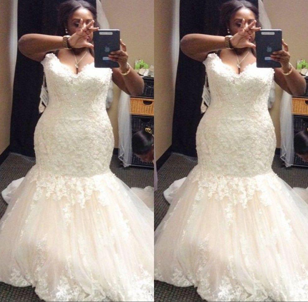 반짝 이는 플러스 사이즈 웨딩 드레스 2019 겸손한 인어 아가씨 목 트럼펫 신부 드레스 스윕 기차 얇은 명주 웨딩 드레스 아프리카