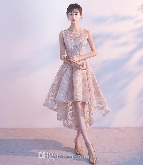 Romántico Alto Bajo Vestidos de baile 2019 Nueva venta caliente barata de una línea de encaje corto formal vestidos de fiesta de noche elegantes vestidos de cóctel Sheer P010