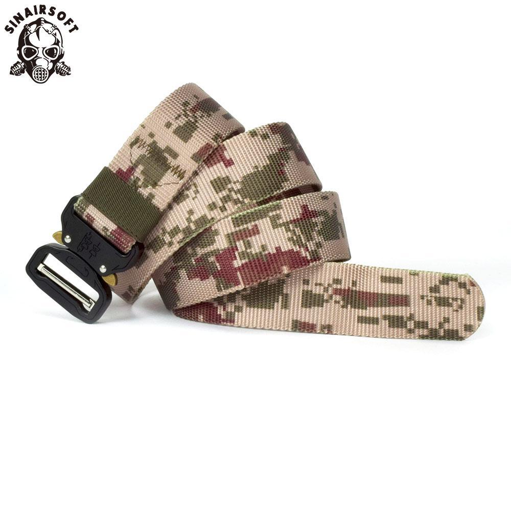 SINAIRSOFT Tactical Buckle Belt Outdoor Heavy Duty Hunting Tactical Waist Belt Adjustable Nylon Belt with Metal Buckle Men Rescue Tool strap