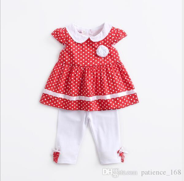 kids sets 2018 NEW arrival Girls Kids cute dots printed sleeveless chest flower t shirt +white pants high quality breathable cotton 2 sets