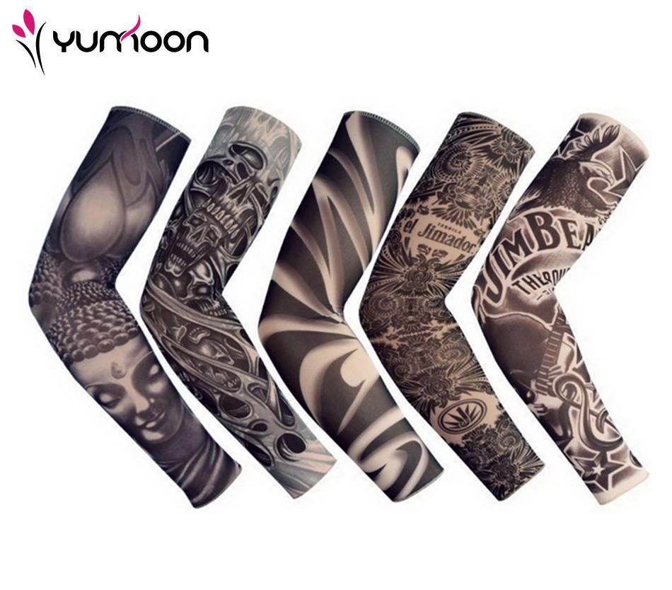 Freeshipping 5 PC-neue gemischte 92% Nylon-elastische gefälschte Tätowierung Ärmel Designs Körper Arm Strümpfe Tattoo für coole Männer Frauen