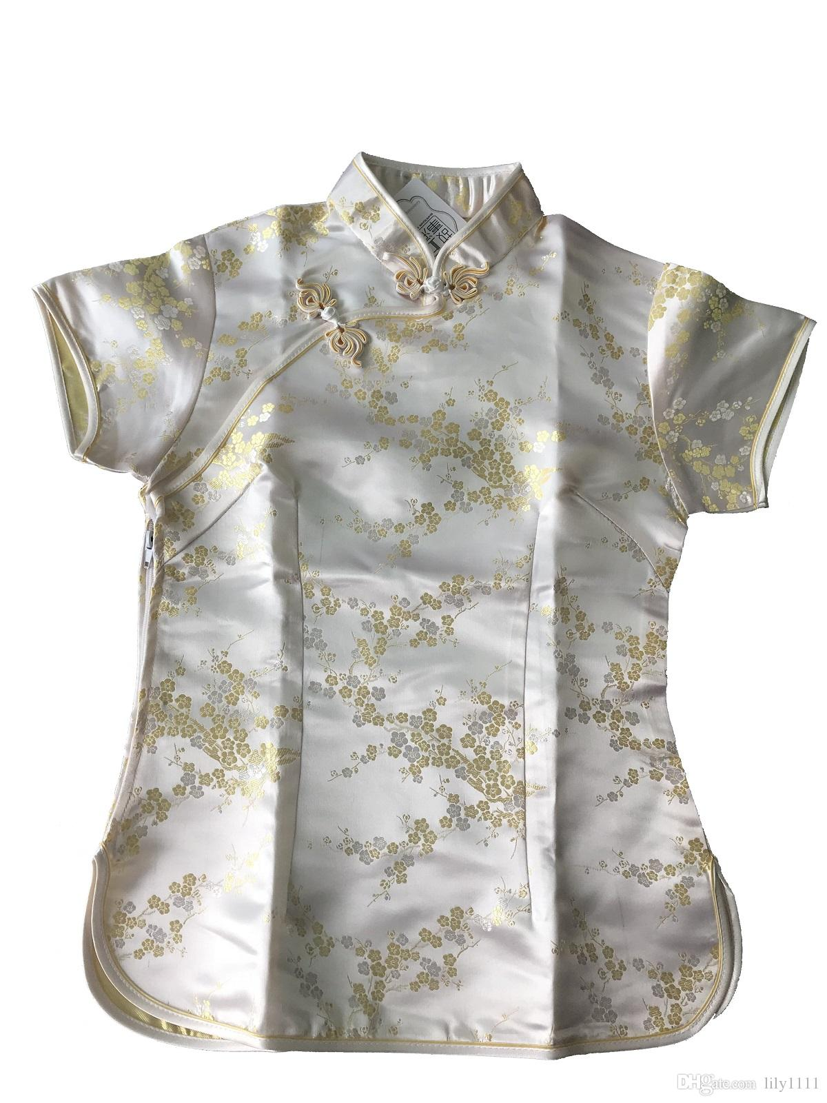 Shanghai Story New Arrival fashion cheongsam top traditional Chinese Women's Silk/Satin Top china floral print blouse Gold top A0024