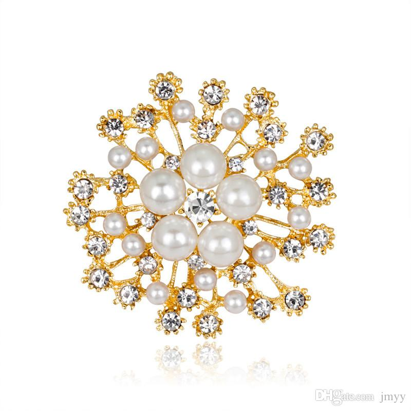 2019 New Women Fashion Imitation Pearl Brooches Colorful Rhinestone Flower Gold Silver Women Brooches For Bride Wedding