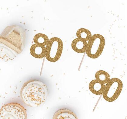 Großhandel Benutzerdefinierte Nummer Glitter 60 70 80 Geburtstag Cupcake Topper Taufe Taufe Kuchen Dekorationen Donut Essen Picks Von Suozhi1993