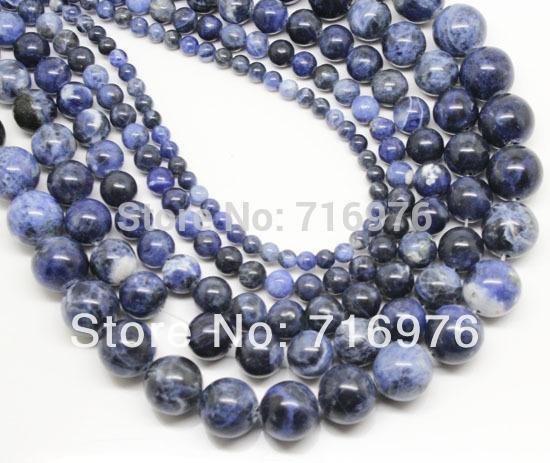 8mm 도매 천연 돌 구슬 보석 만들기에 대 한 오래 된 블루 Sodalite 라운드 느슨한 구슬 15.5inch 선택 크기 4 6 8 10 12mm