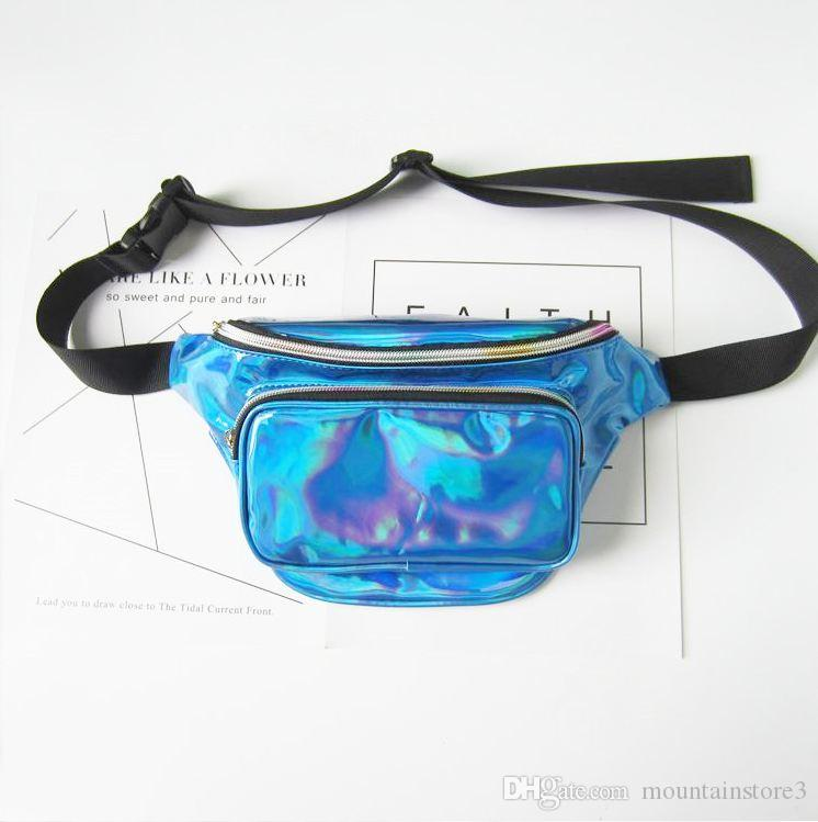 Top Quality Waterproof Laser Fanny Pack Hip Waist Pack Belt Pouch Women Men Travel Pouch (9-Color)